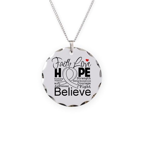 Faith Hope Lung Cancer Necklace Circle Charm