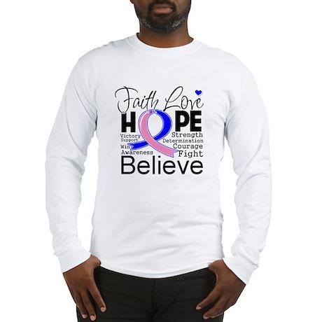 Faith Hope Male Breast Cancer Long Sleeve T-Shirt