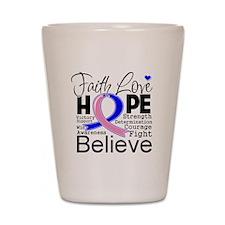 Faith Hope Male Breast Cancer Shot Glass