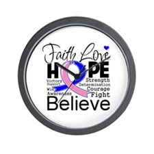 Faith Hope Male Breast Cancer Wall Clock
