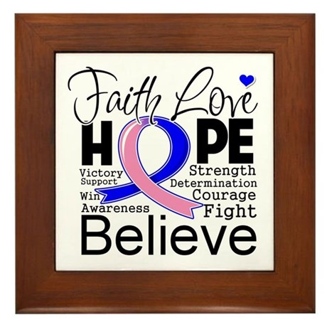 Faith Hope Male Breast Cancer Framed Tile