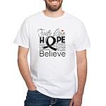 Faith Hope Melanoma White T-Shirt