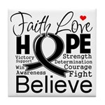 Faith Hope Melanoma Tile Coaster