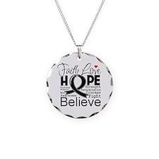 Faith Hope Melanoma Necklace Circle Charm
