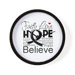 Faith Hope Melanoma Wall Clock