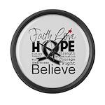 Faith Hope Melanoma Large Wall Clock