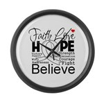 Faith Hope Mesothelioma Large Wall Clock