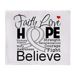 Faith Hope Mesothelioma Throw Blanket