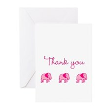 Pink Elephant Thank You Greeting Cards (Pk of 20)