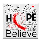 Faith Hope Oral Cancer Tile Coaster