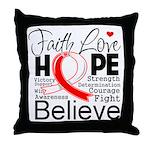 Faith Hope Oral Cancer Throw Pillow