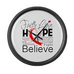 Faith Hope Oral Cancer Large Wall Clock