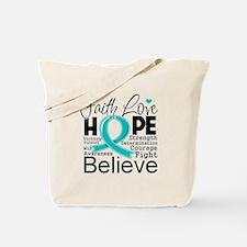 Faith Hope Ovarian Cancer Tote Bag