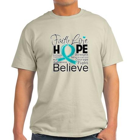 Faith Hope Ovarian Cancer Light T-Shirt