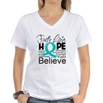 Faith Hope Ovarian Cancer Women's V-Neck T-Shirt