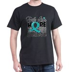 Faith Hope Ovarian Cancer Dark T-Shirt