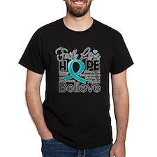 Faith Hope Ovarian Cancer T-Shirt