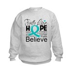 Faith Hope Ovarian Cancer Kids Sweatshirt