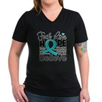 Faith Hope Ovarian Cancer Women's V-Neck Dark T-Sh