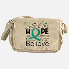 Faith Hope Ovarian Cancer Messenger Bag