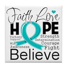 Faith Hope Ovarian Cancer Tile Coaster