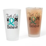 Faith Hope Ovarian Cancer Drinking Glass