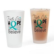 Faith Hope Ovarian Cancer Drinking Glass