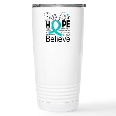 Faith Hope Ovarian Cancer Stainless Steel Travel M