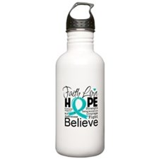 Faith Hope Ovarian Cancer Water Bottle