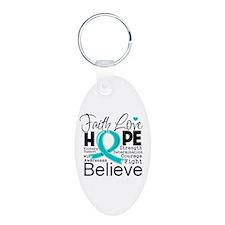 Faith Hope Ovarian Cancer Keychains