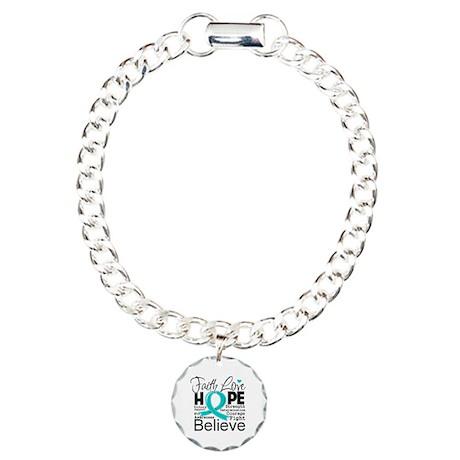 Faith Hope Ovarian Cancer Charm Bracelet, One Char