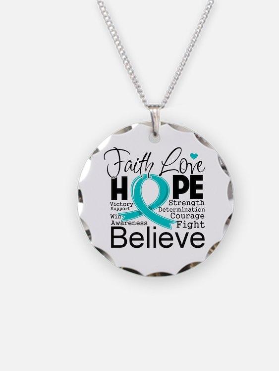 Faith Hope Ovarian Cancer Necklace