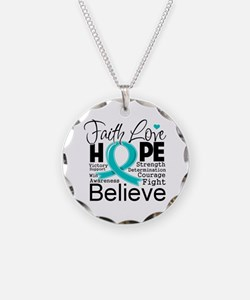 Faith Hope Ovarian Cancer Necklace Circle Charm