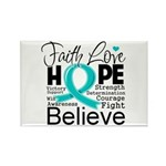 Faith Hope Ovarian Cancer Rectangle Magnet