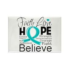 Faith Hope Ovarian Cancer Rectangle Magnet