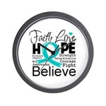 Faith Hope Ovarian Cancer Wall Clock