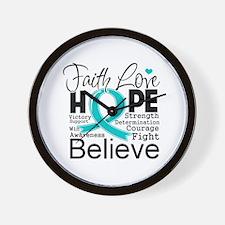 Faith Hope Ovarian Cancer Wall Clock