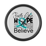 Faith Hope Ovarian Cancer Large Wall Clock