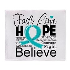 Faith Hope Ovarian Cancer Throw Blanket