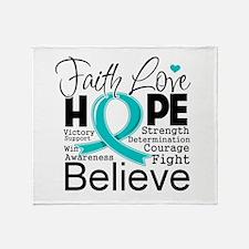 Faith Hope Ovarian Cancer Throw Blanket