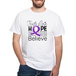 Faith Hope Pancreatic Cancer White T-Shirt