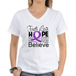 Faith Hope Pancreatic Cancer Women's V-Neck T-Shir