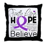 Faith Hope Pancreatic Cancer Throw Pillow
