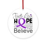 Faith Hope Pancreatic Cancer Ornament (Round)
