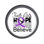 Faith Hope Pancreatic Cancer Wall Clock