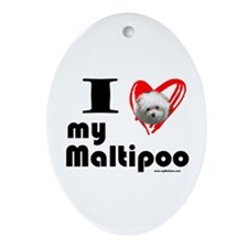 I Love my Maltipoo Oval Ornament