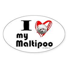 I Love my Maltipoo Oval Decal