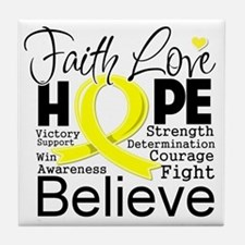 Faith Hope Sarcoma Cancer Tile Coaster