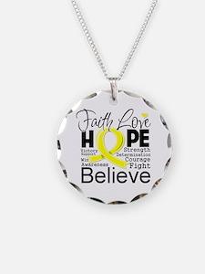 Faith Hope Sarcoma Cancer Necklace
