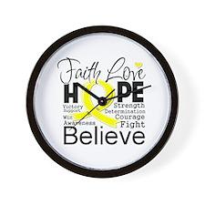 Faith Hope Sarcoma Cancer Wall Clock